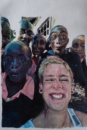 This painting features a recreation of a photograph taken at Kithoka Primary School in Meru, Kenya.