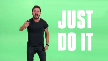 Shia LaBeouf's inspiring video.Just listen to those words of inspiration!
