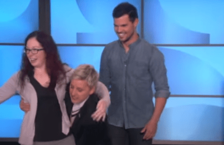 Ellen DeGeneres and Taylor Lautner recreate fake FB pic!