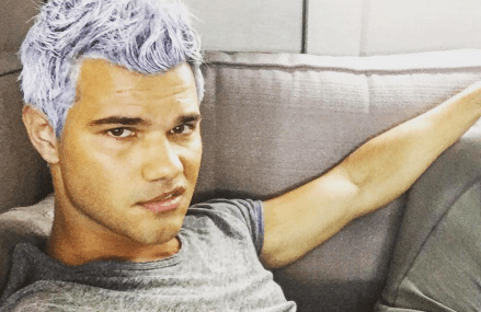 Taylor Lautner has a new lavender colored hairstyle! Have you seen it?