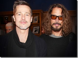 Brad Pitt comforts Chris Cornell's kids after their loss at Universal studios!