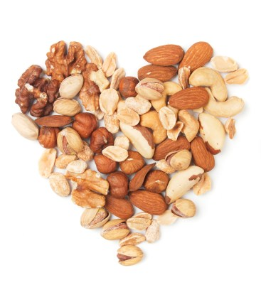 Nuts over white background