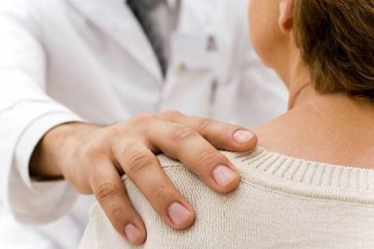 doctor hand on shoulder