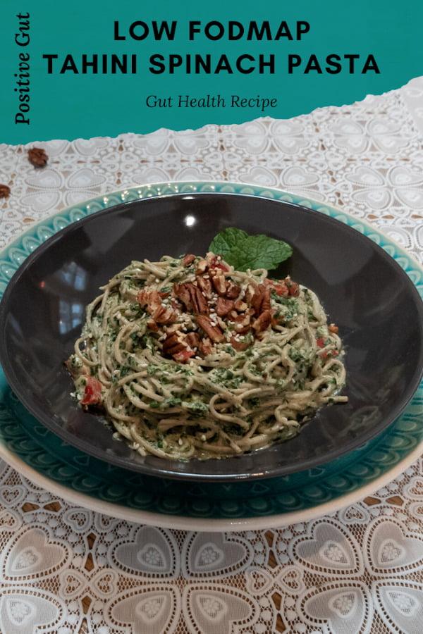 FODMAP spinach tahini spaghetti