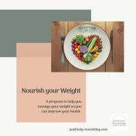 nourish your weight online nutrition program lose weight for health with heart made of veggies on scale that looks like a plate