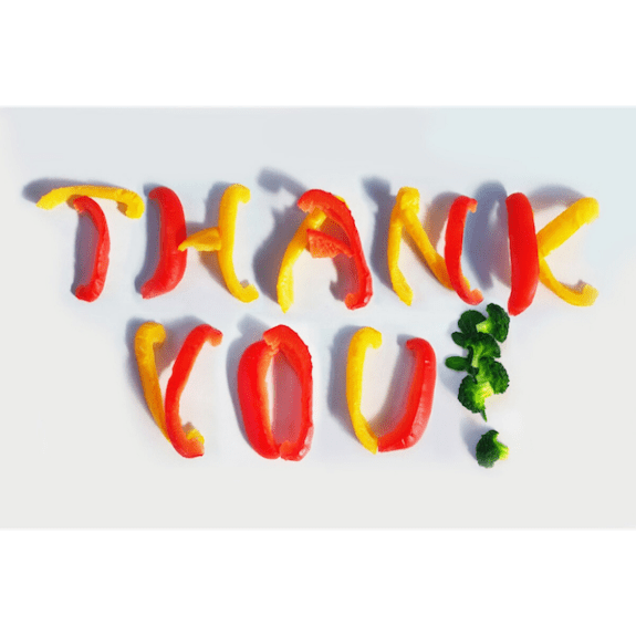 thank you! spelled in veggies