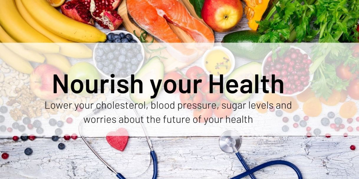heart healthy foods on background with stethoscope Nourish your Health program banner