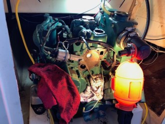 The front side of Achilles I's engine taken apart for overhaul. (Photo by Jarrett)