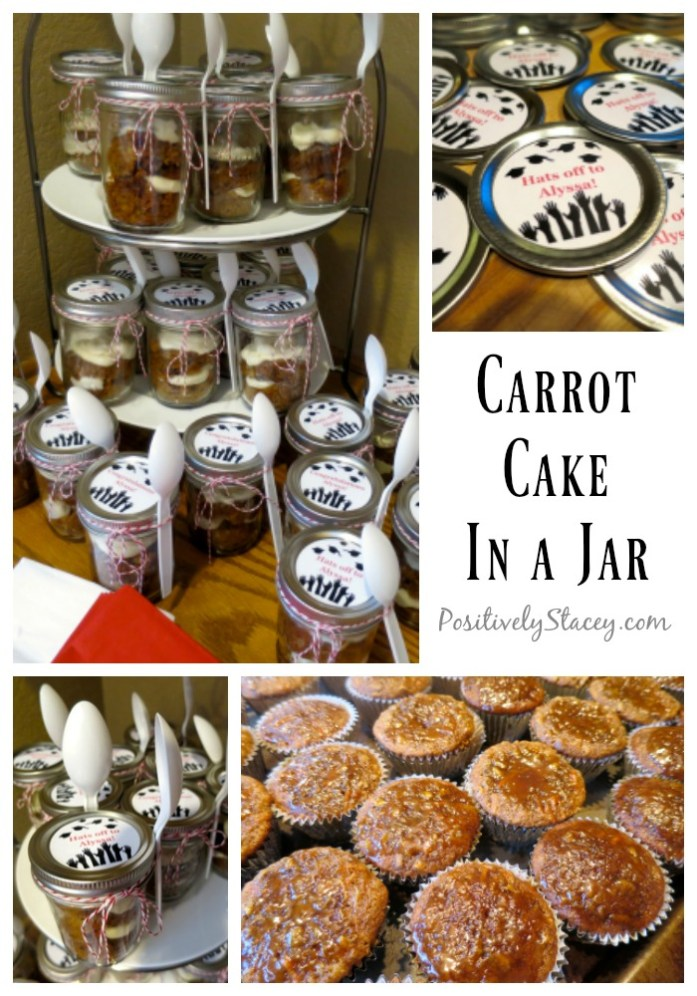 This Carrot Cake in a Jar Recipe is downright delicious! Really, the best ever carrot cake and the best way to serve cupcakes for a party! We loved these at our graduation party.