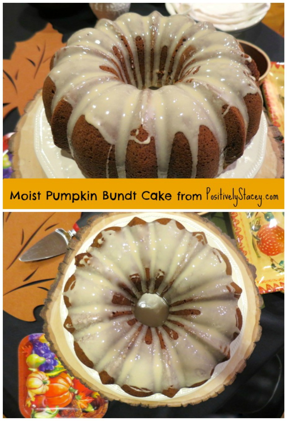 This cake was absolutely delicious! It is very moist and sort of along the lines of pumpkin bread - not overly sweet. I love Bundt cakes! They are easy to pop out of a Bundt pan, sprinkle with powdered sugar or drizzle with a glaze and viola you have an impressive cake