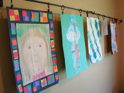 Hanging kids' art