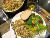 Pesto shrimp pasta and salad
