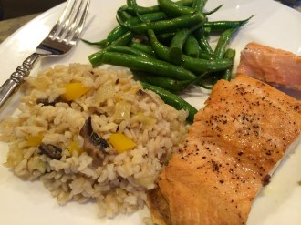 Salmon with confetti rice and green beans