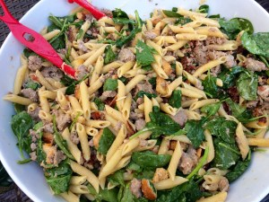 Penne with Italian Sausage, Spinach and Bread Crumbs Recipe
