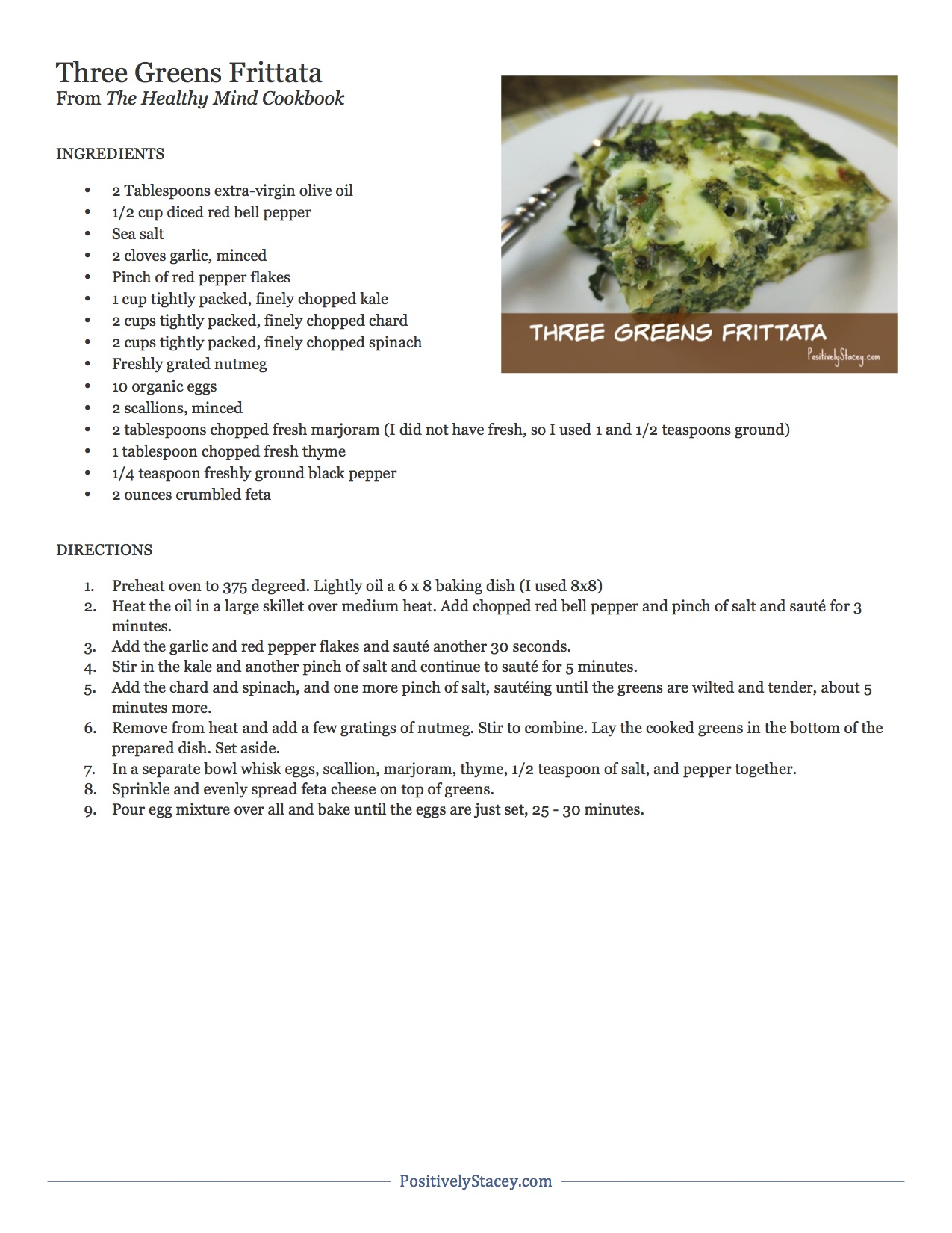 Three Greens Frittata Recipe