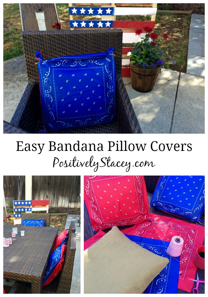 Easy Bandana Pillow Covers for the 4th of July