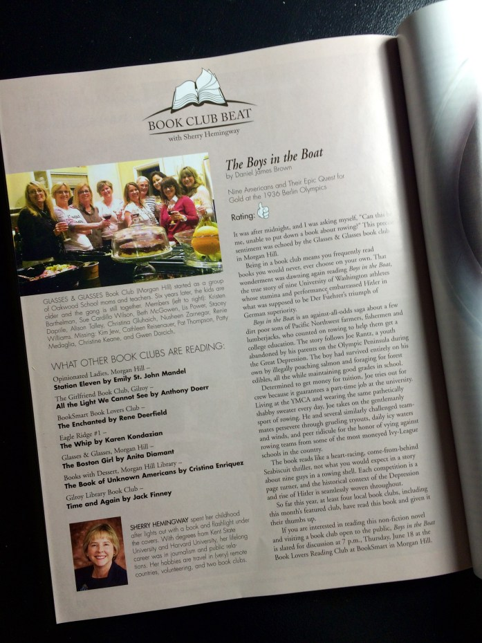 Our book club, Glasses & Glasses, was featured in a local magazine's Book Beat.
