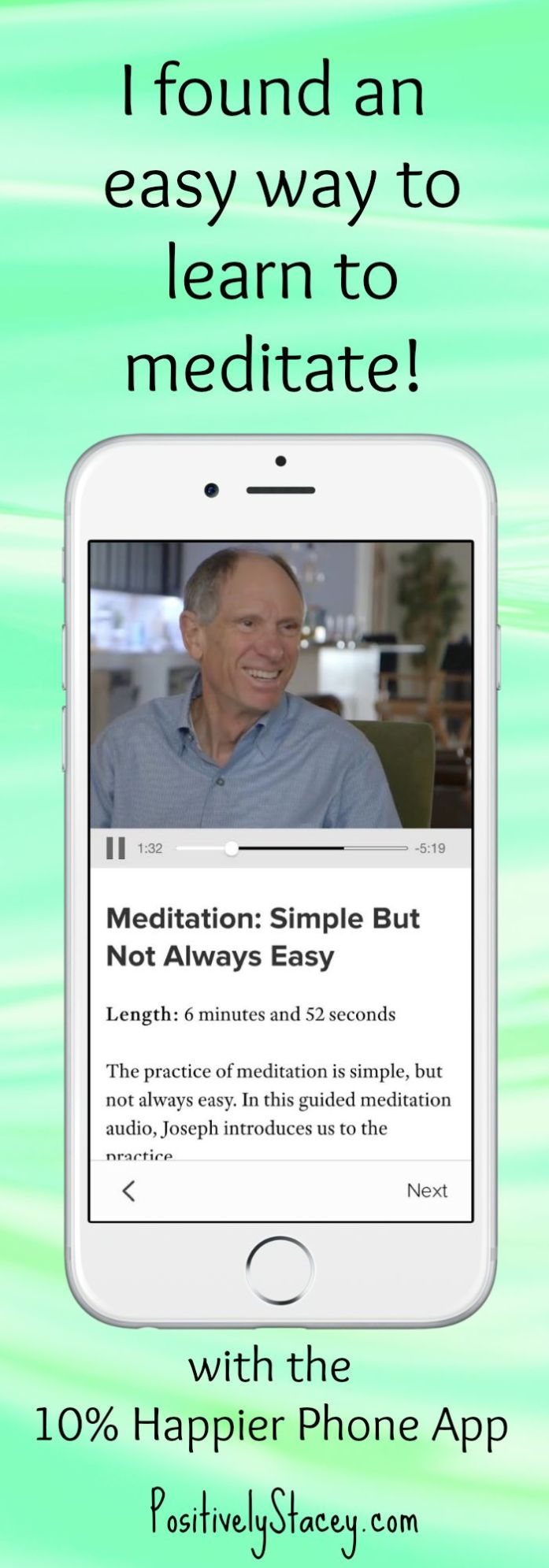 I Found an easy way to learn meditation! Check it out - it's a phone app. It really works!