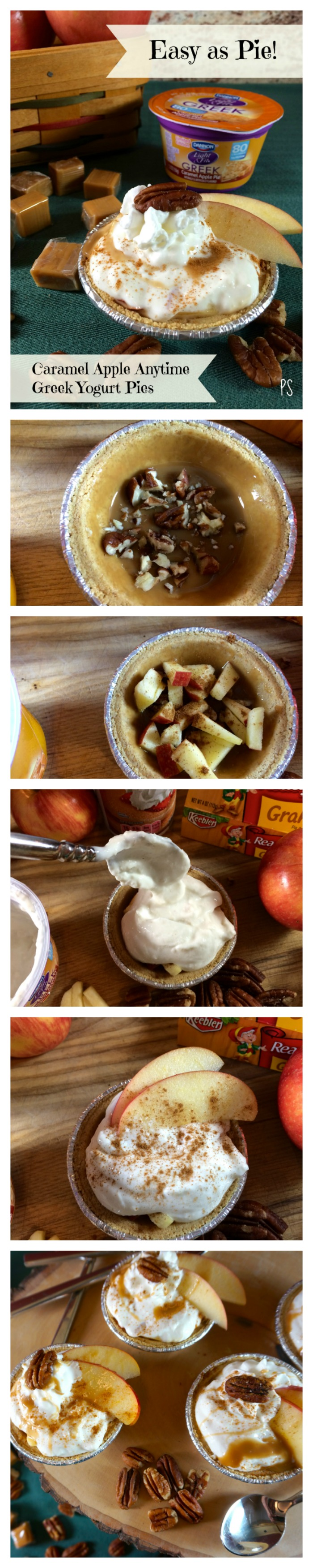 Caramel Apple Anytime Greek Yogurt Pies #EffortlessPies - So fast, easy, delicious, and a healthier choice for dessert!