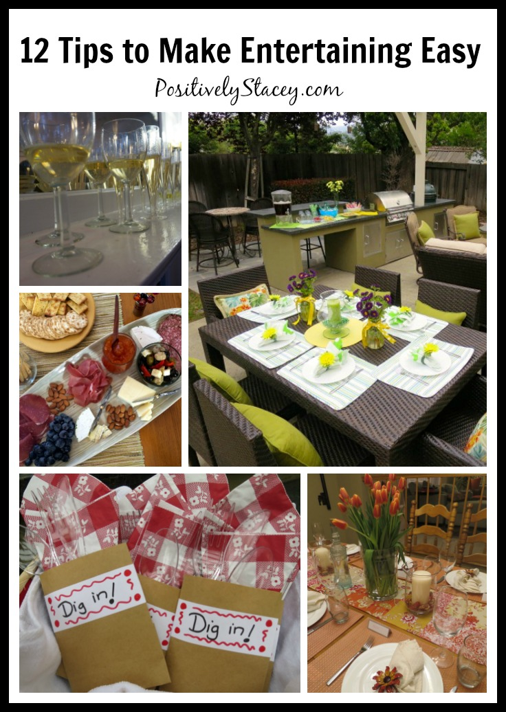 I believe that entertaining should be as enjoyable for the hostess as it is for the guests. Here are 12 tips and tricks to make entertaining easy.