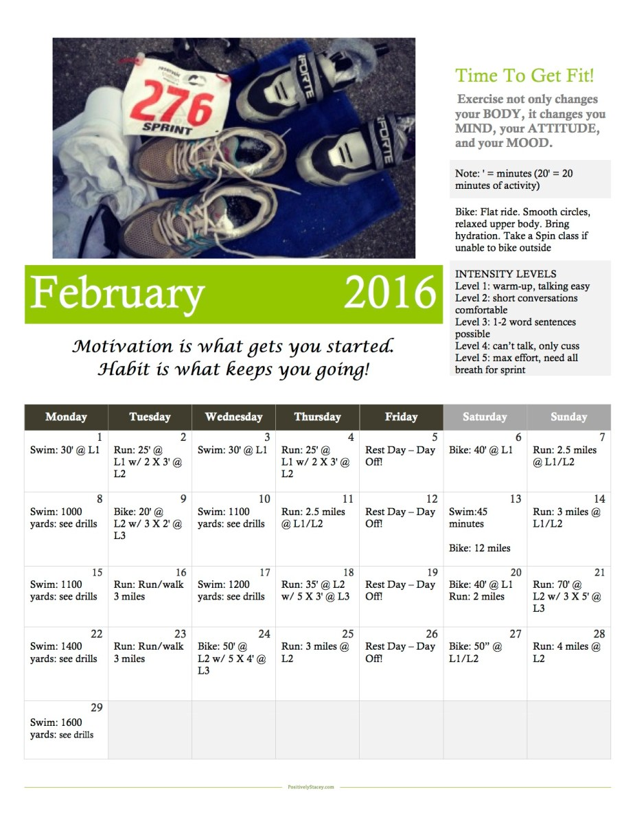 Triathlon Training Schedule - Month Two