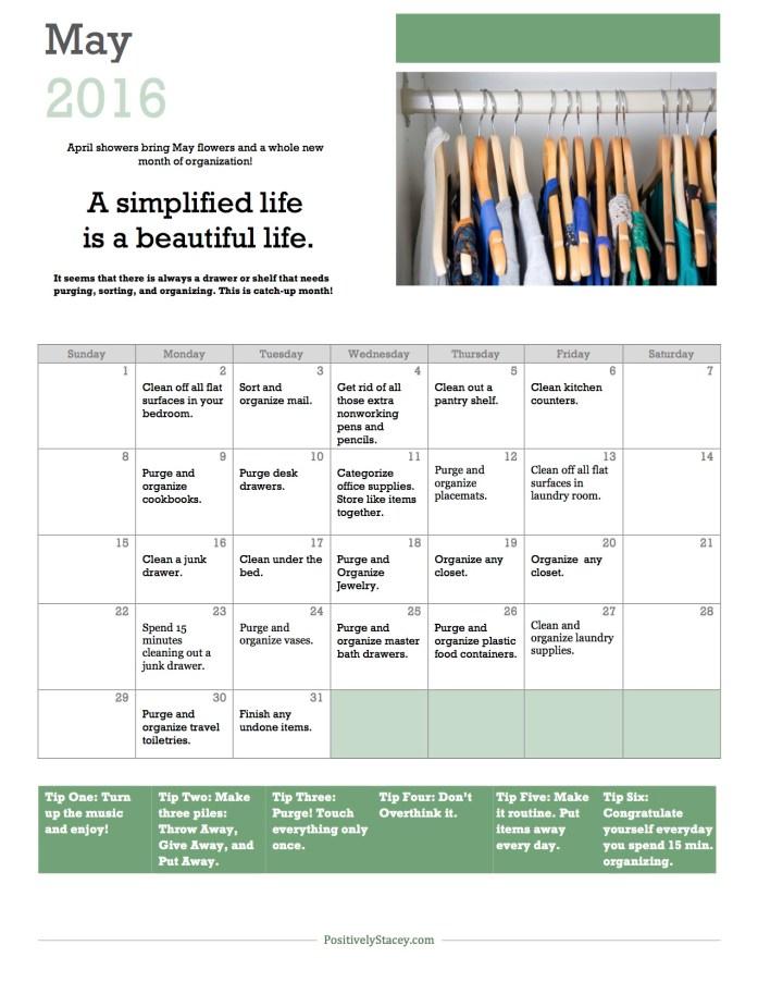 May 2106 Organization Calendar