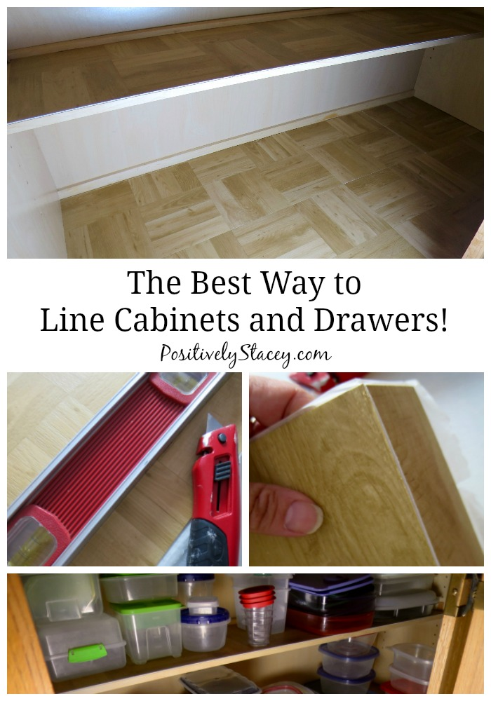 The Best Way to Line Kitchen Cabinets - Positively Stacey