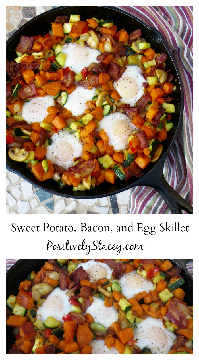 This Sweet Potato, Bacon, and Egg Skillet is simply delicious! It is a little bit sweet, a little bit salty, and a whole lot of yum!