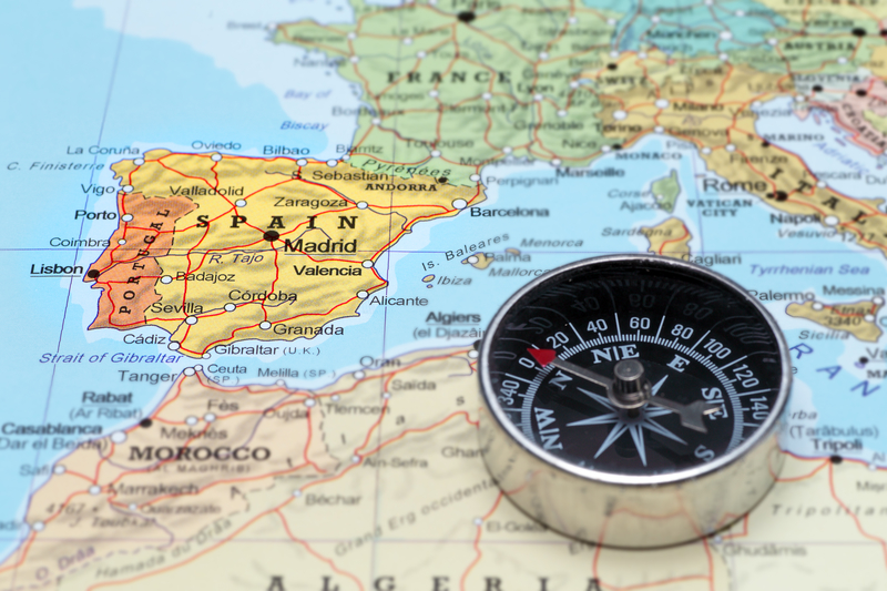 travel map and compass