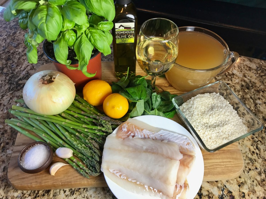 Cod on Spinach Basil Risotto