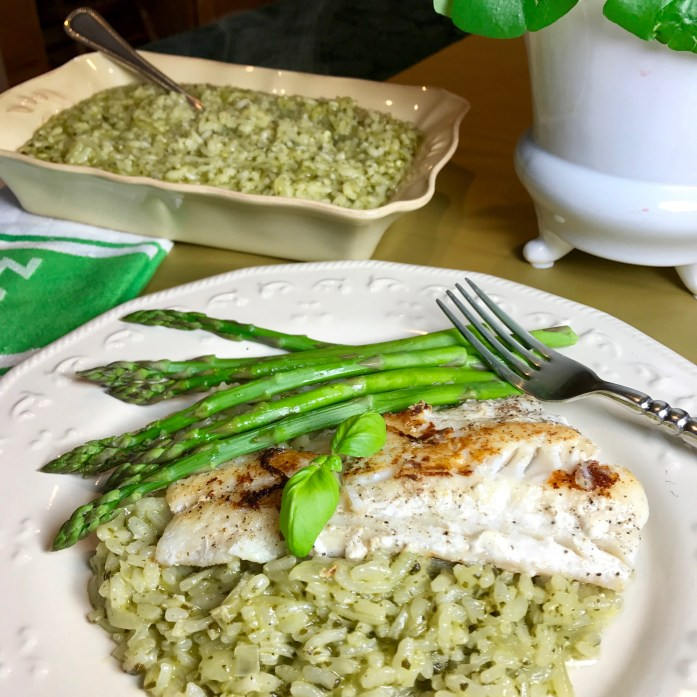Pan Roasted Cod on Spinach Basil Risotto