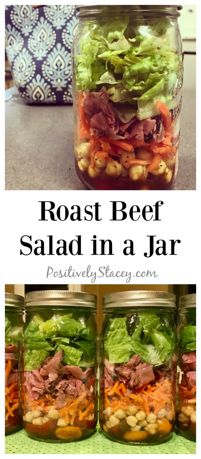 This roast beef salad in a jar is one of my favorite recipes for lunch. The heartiness of the garbanzo beans with the roast beef is perfectly delicious.