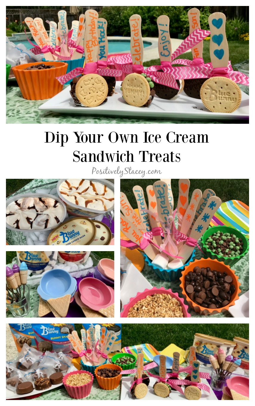 Create an easy ice cream station with a dip your own ice cream sandwich treats. Just add colorful ribbon, popsicle sticks and toppings to Blue Bunny® Chocolate Vanilla Twist Bunny Snacks