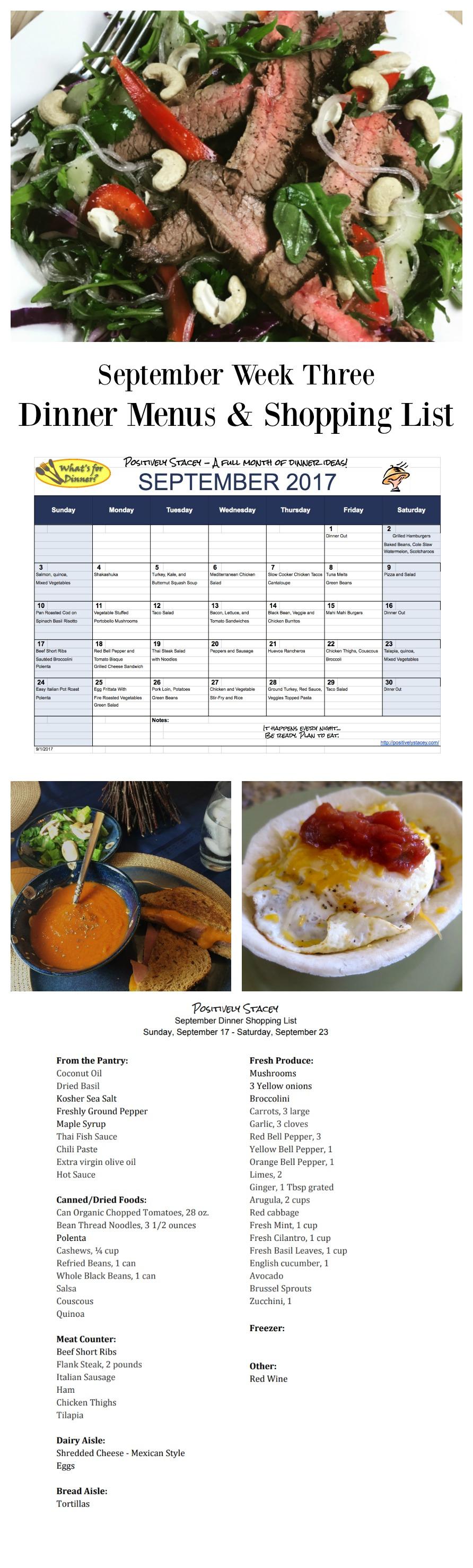 September Week Three Dinner Menus and Shopping List