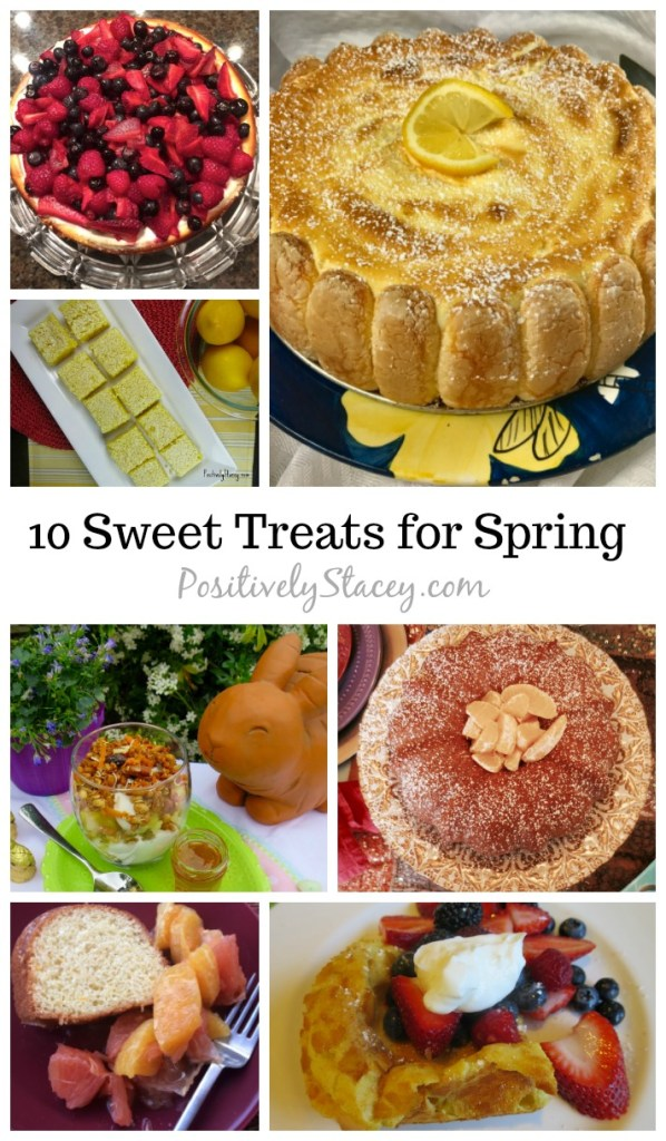 To help usher in spring I am sharing my favorite 10 sweet treats for spring. Here are light lemony delights, fruit filled bites, and simply scrumptious sweet treats!