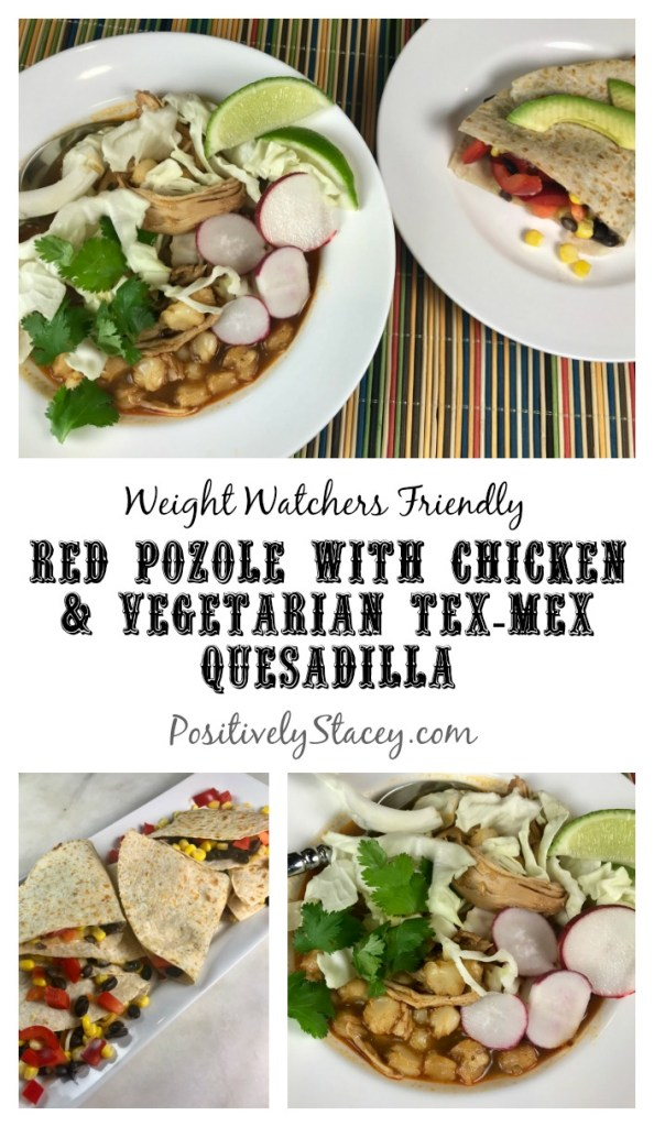 My Mexican take on grilled cheese and a bowl of soup! Introducing tonight's dinner of red pozole with chicken and a vegetarian Tex-Mex quesadilla. My take on this Mexican soup is a faster and easier version that makes it perfect for a work night. Plus, I've made it Weight Watchers friendly - including the quesadilla!