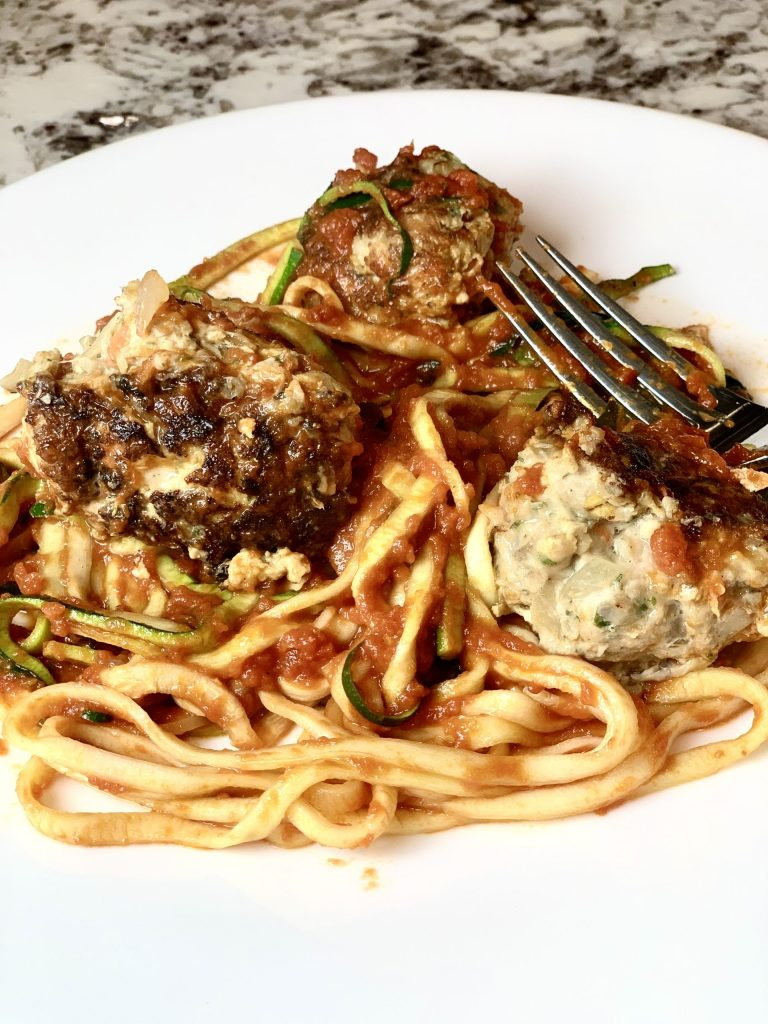 Turkey meatballs with zoodles.