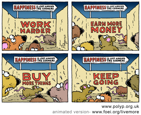 Rats in the maze of consumerism/materialism.