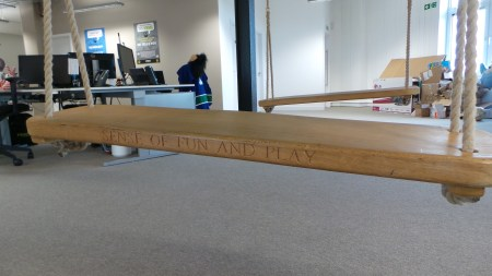 One of PEER1's values, printed on a swing. Very fitting.
