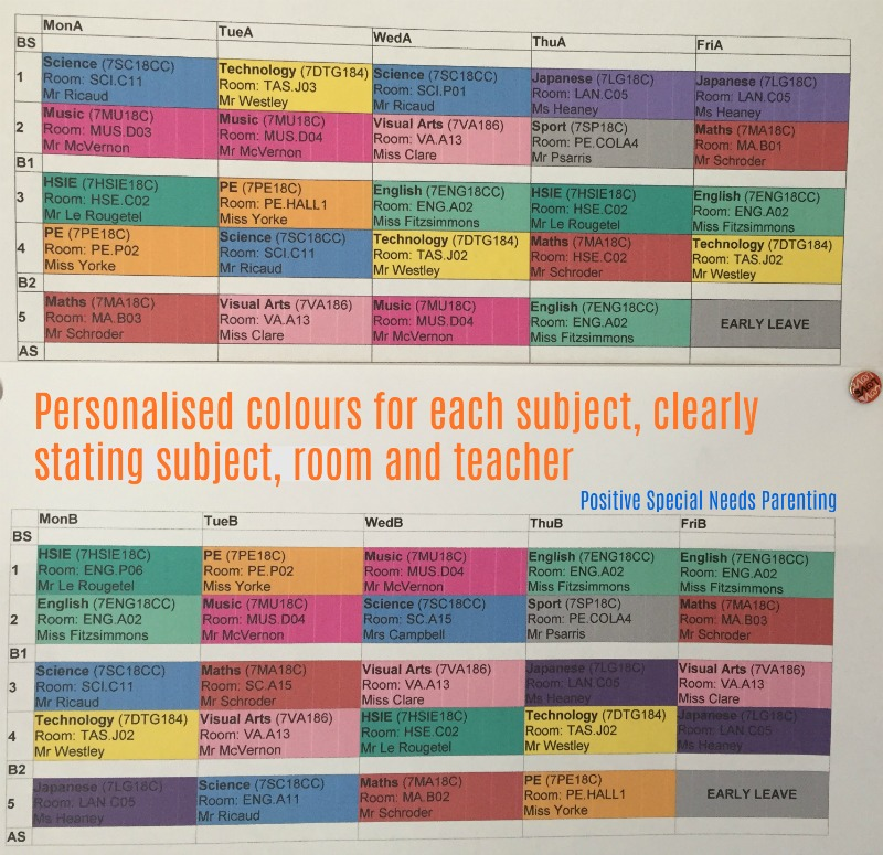 Colour-coded high school timetable - https://www.positivespecialneedsparenting.com
