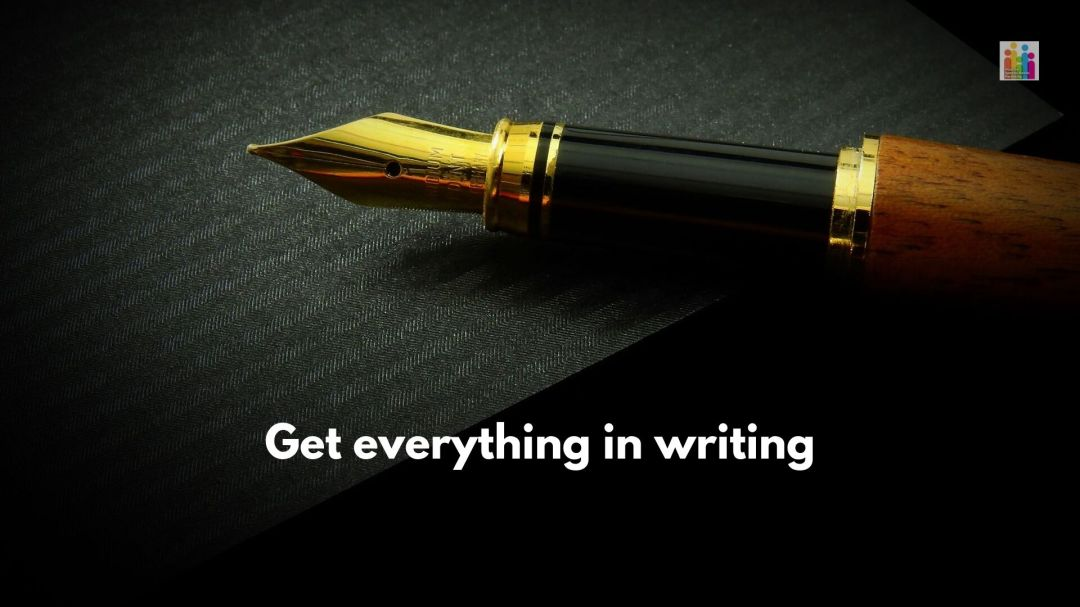 """Image of a gold fountain pen against a black background. White text below reads, """"get everything in writing."""""""