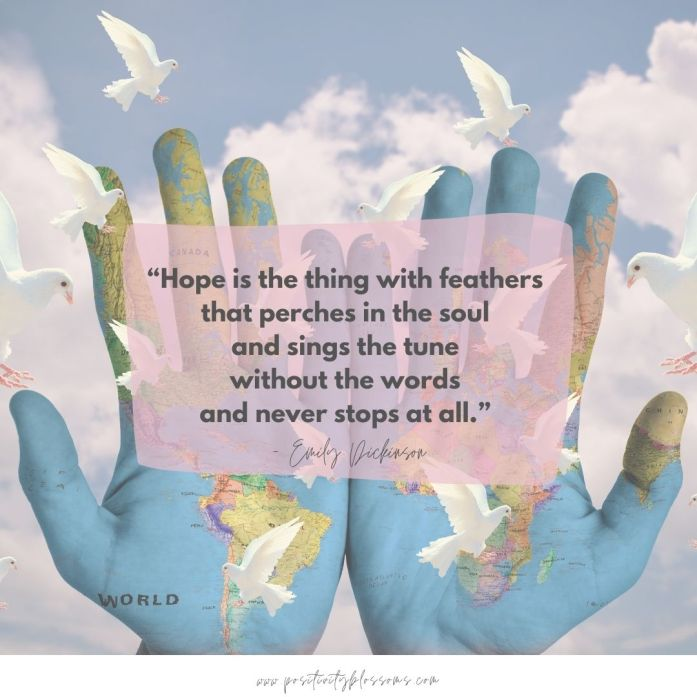 hope is quote by emily dickinson image