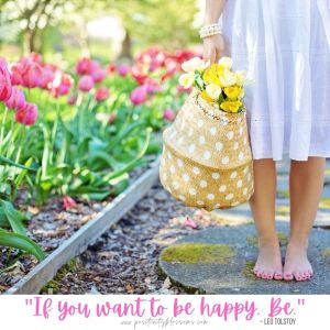 A quote about happiness from Leo Tolstoy. If you want to be happy, be. digital art quote