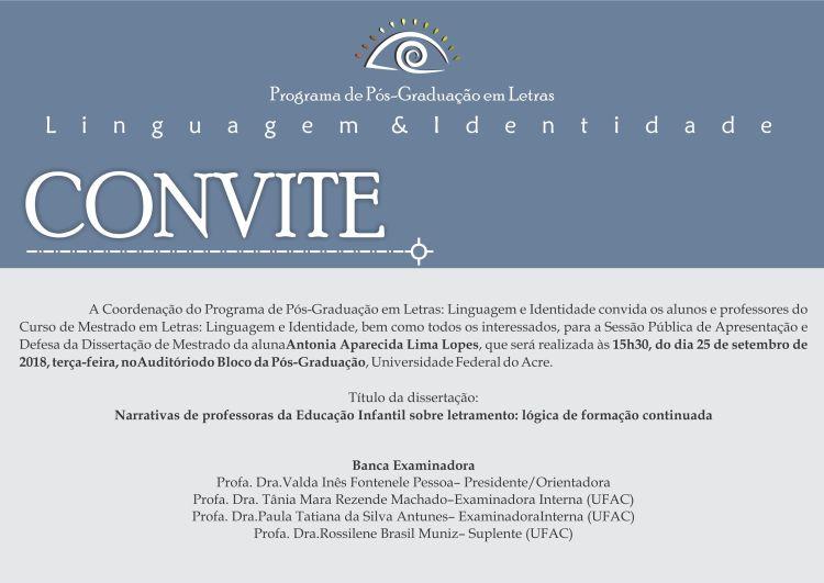 Convite Defesa Antonia Aparecida