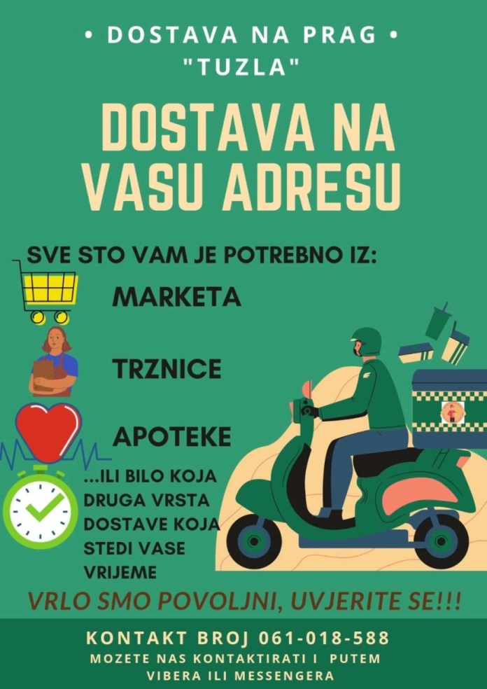 """""""Dostava na prag"""" u Tuzli/ Sigurna narudžba iz udobnosti vašeg doma"""