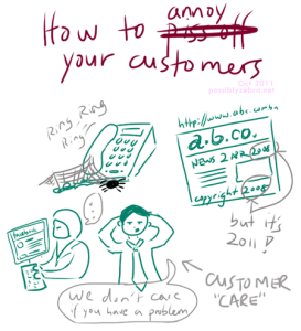 How to annoy your customers, how may I count the ways: Unanswered phone, outdated websites, bored counter staff