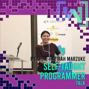 Graphic showing a photo of me at the talk, captioned - Mentor: Self-Taught Programmer Talk