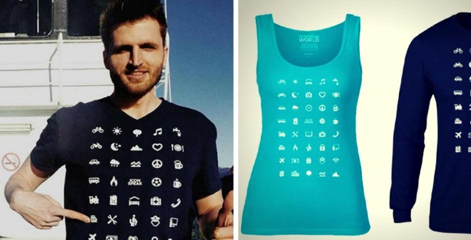 Iconspeak, camiseta com ícones
