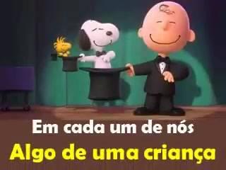 Mensagem de amizade com Snoopy e Charlie Brown, com Enquanto
