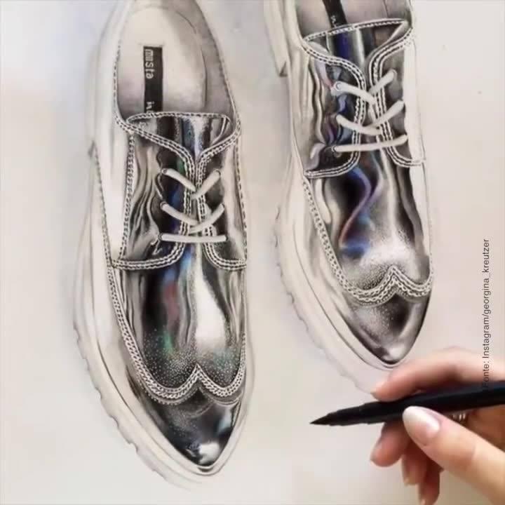 Olha Só Que Arte Lindíssima, Um Desenho De Um Sapato Em 3D, Parece De Verdade!!!